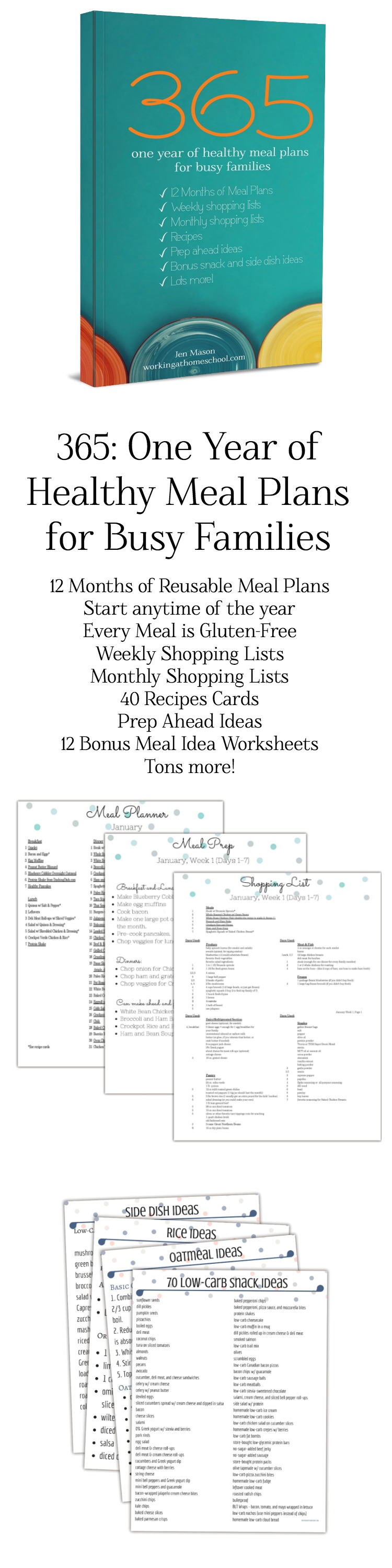 Wow! A full year of healthy meal plans and shopping lists! All gluten-free, too. I use this for THM, and I've saved tons of time because I don't have to meal plan anymore!