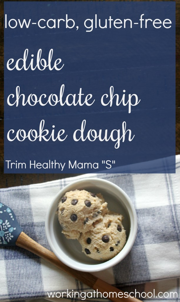 "This edible low-carb cookie dough is SO GOOD! This recipe is gluten-free, and it works as an ""S"" for Trim Healthy Mama"