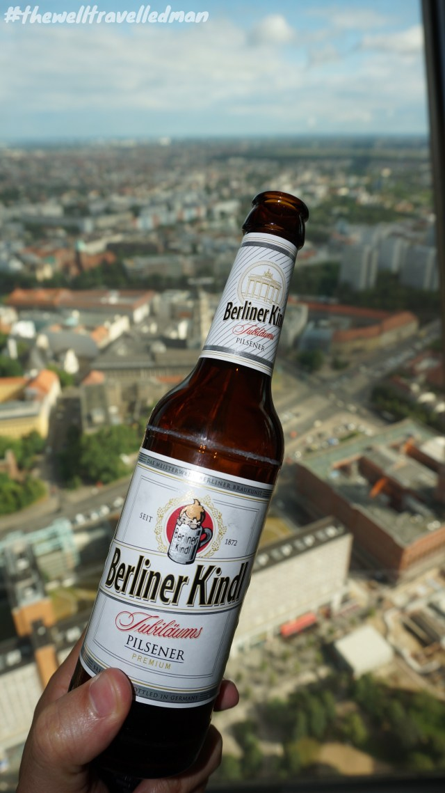 View from the TV Tower / Fernsehturm de Berlin with a local German beer