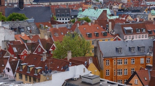 The view from the Round Tower. The 17th century tower and observatory Rundetaarn, is the oldest functioning observatory in Europe