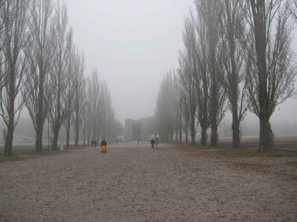 Dreary overcast view of abandoned concentration camp
