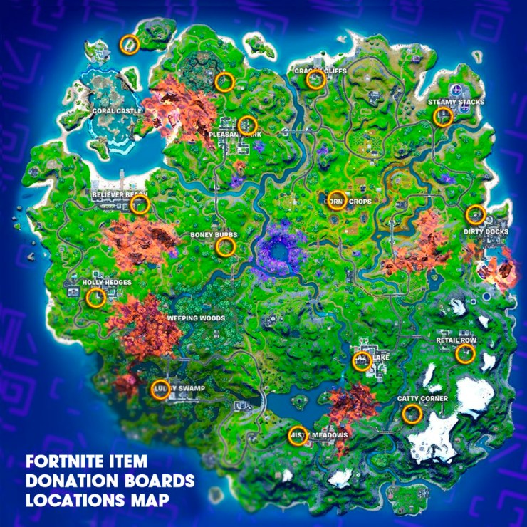 Fortnite Item Donation Boards Locations Map