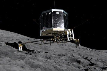 Philae lander just before touching the surface of Comet 67P