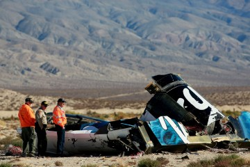 Wreckage of Virgin Galactic owned SpaceShipTwo over Mojave Desert in California