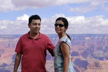 Atheist American blogger Avijit Roy with his wife in happier times