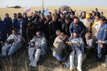 Astronauts and Cosmonauts return to Earth on Russian Soyuz spaceship