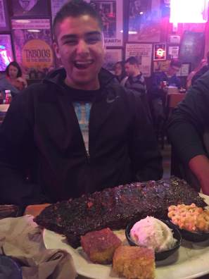 Full rack of ribs - and he ate the whole thing!