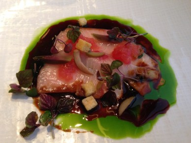 Hamachi crudo, black garlic soy, crushed tomato, basil, olives, shiso (Mendin)