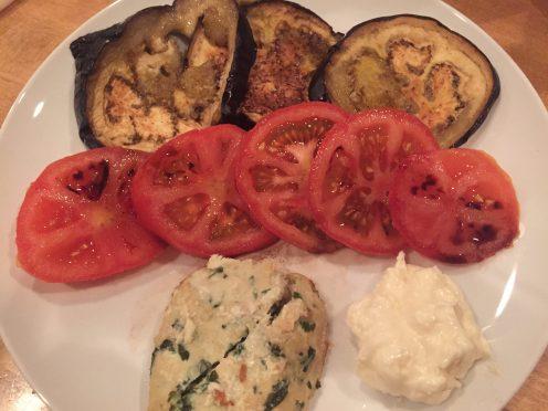 Organic eggplant, tomaro salad with homemade chicken burger and mayo