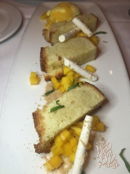 Crispy Warm Coconut Cake with a Frozen Mango Creamsicle and Yogurt Sherbet