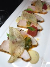 Local Cobia Tataki: cucumber kimchi, watermelon, ginger dressing