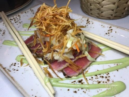 Caribbean Spiced Tuna Tataki: green papaya slaw and wasabi aioli