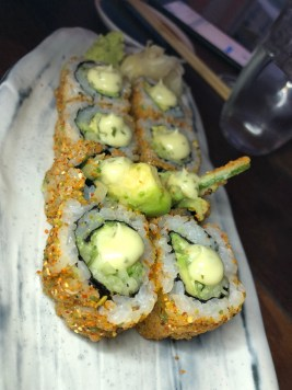 Avocado, Cucumber Maki: wasabi peas and shies mayo