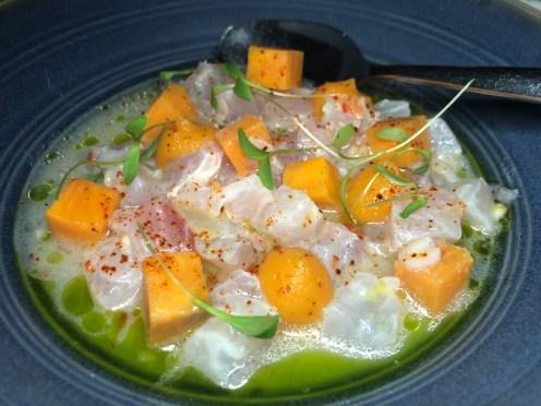 Ceviche (lychee, sweet potato, mint, cachucha)