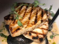 Wood-grilled swordfish (mussels, purple potato, coconut broth)