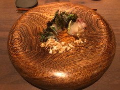 NORTH COAST TIDE POOL: akabana kanpachi, wild seaweed, oyster emulsion