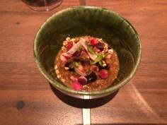 SONOMA GRAINS: caramelized mochi mugi, braised lamb belly, radish