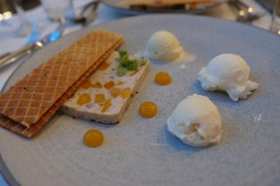Charcuterie: chicken and apricot terrine, waffle cone toast points, and a trio of cheese ice creams (blue, manchego, and brie)