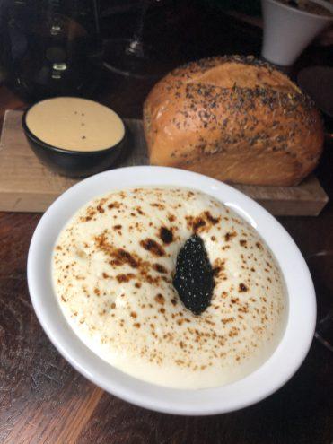 Soft Egg: Sea Scallop Espuma, Truffle Pearls + Siberian Caviar