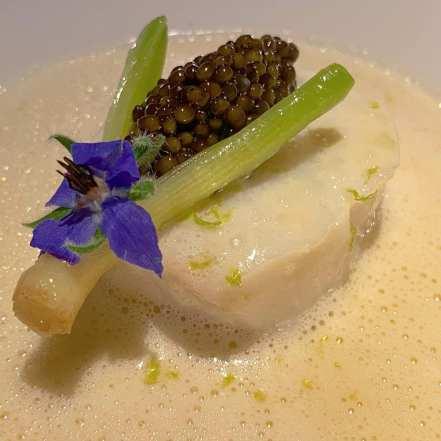 Icelandic Cod: caviar, baby leek, champagne sauce