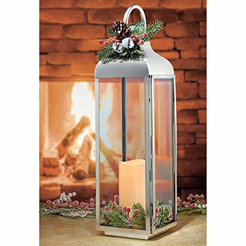27.5 Large Polished Stainless Steel Lantern with Flickering LED Candle