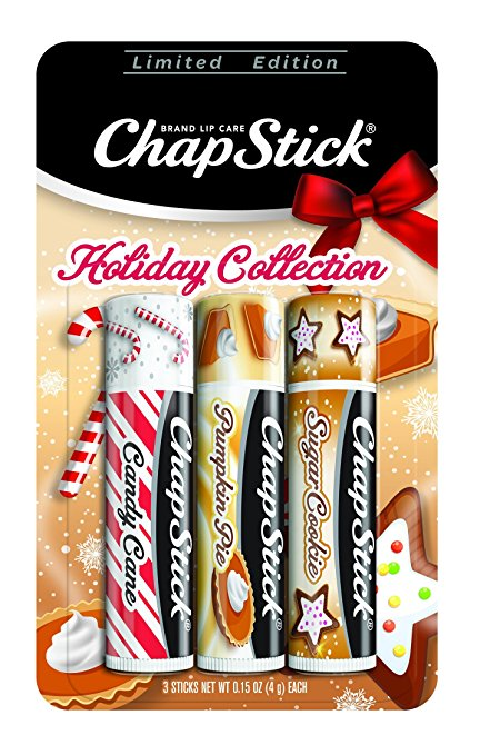 ChapStick Holiday Limited Edition Seasonal Flavored Lip Balm Tube, 0.15 Ounce Each (Candy Cane, Pumpkin Pie & Sugar Cookie Flavors, 1 Blister Pac