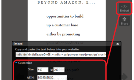 How to embed a preview of your Kindle book directly into a webpage or blog post
