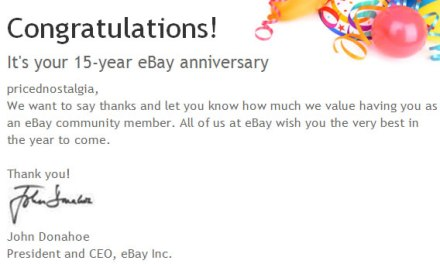 "Anniversary time! ""Celebrating"" 15 years of selling on eBay"