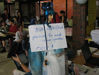 A sign advertising the giveaway of free WikiSt...