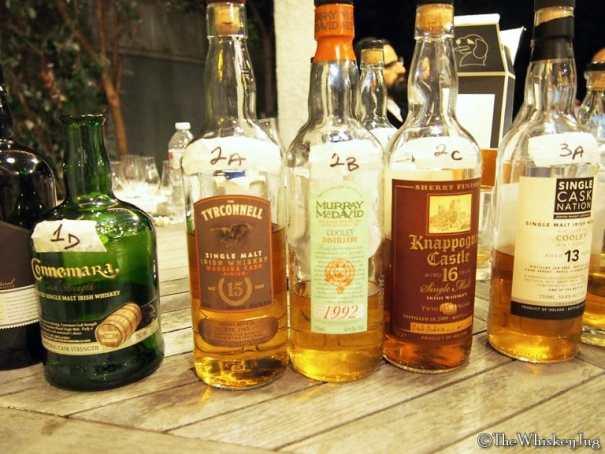 Malt Nuts: Irish Single Malts Round 2 Whiskeys - 2A: Tyrconnel 15 years Madeira Finish: 46% - ex-Bourbon & ex-Madeira, 2B: Murray McDavid Cooley 11 years (92-04): 46% - ex-Bourbon, 2C: Knappogue Castle 16 years Twin Wood (95-12): 40% - ex-Bourbon & ex-Sherry