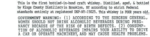Kings County Bottled in Bond bourbon