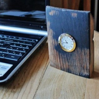 Oak Whisky Barrel Stave Desk Clock