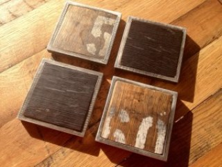Bourbon Whiskey Barrel Coasters (black, natural oak, brown, green, aluminum, square)