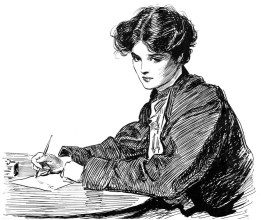 gibson-drawings-c1900-na-young-woman-writing-a-letter-pen-and-ink-ff66gj