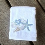 Seaside Embroidered White Face Washer