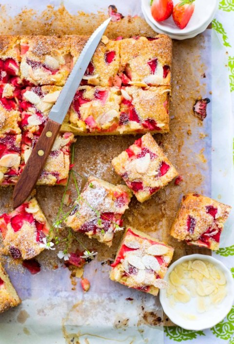 Strawberry Almond Olive Oil Traybake