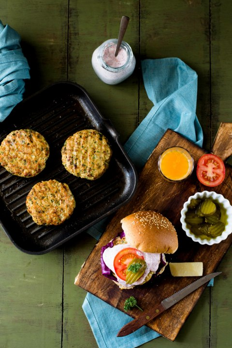 Chicken & Zucchini Burgers With Yogurt & Sumac Sauce