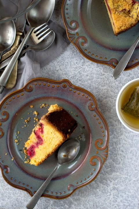 Strawberry Cornmeal Crumb Cake