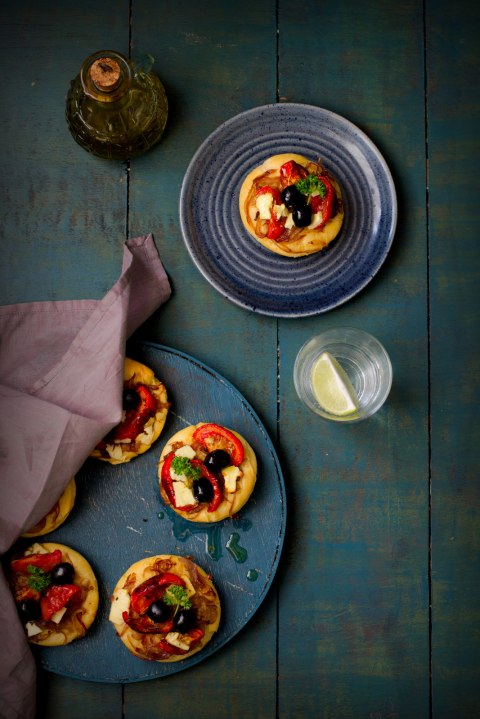 Brioche Pizzettes With Feta Olive & Tomatoes