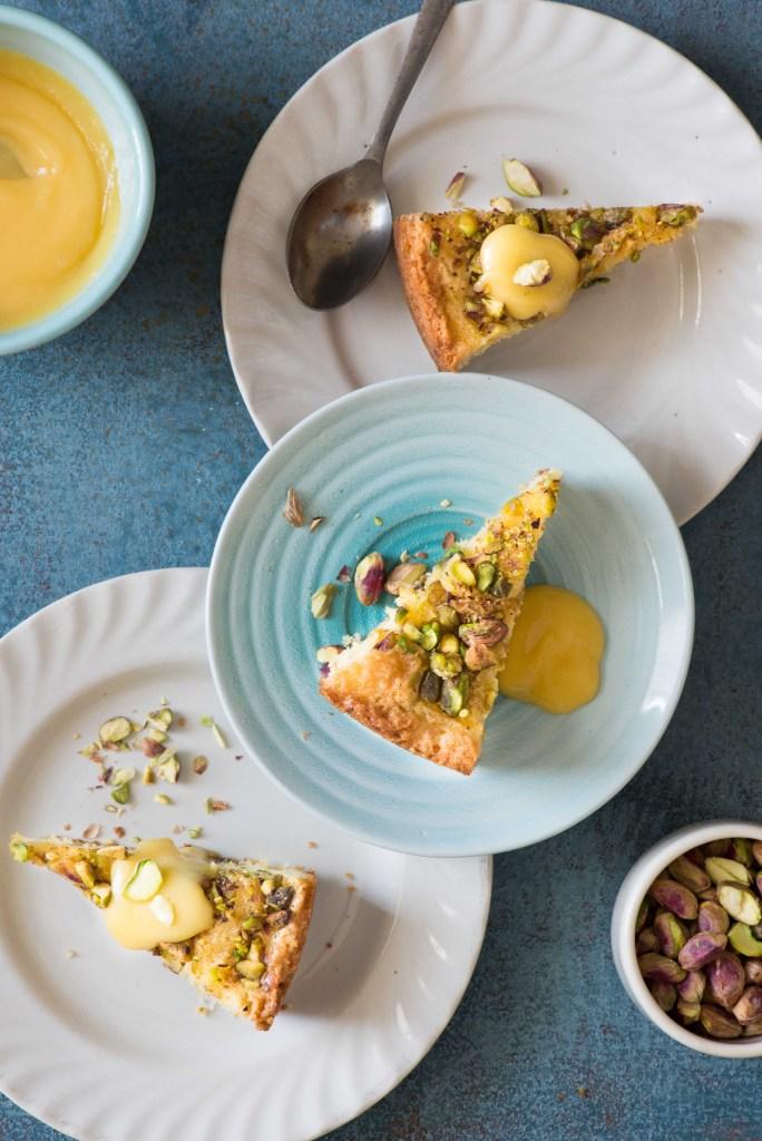 lemon curd pistachio cake
