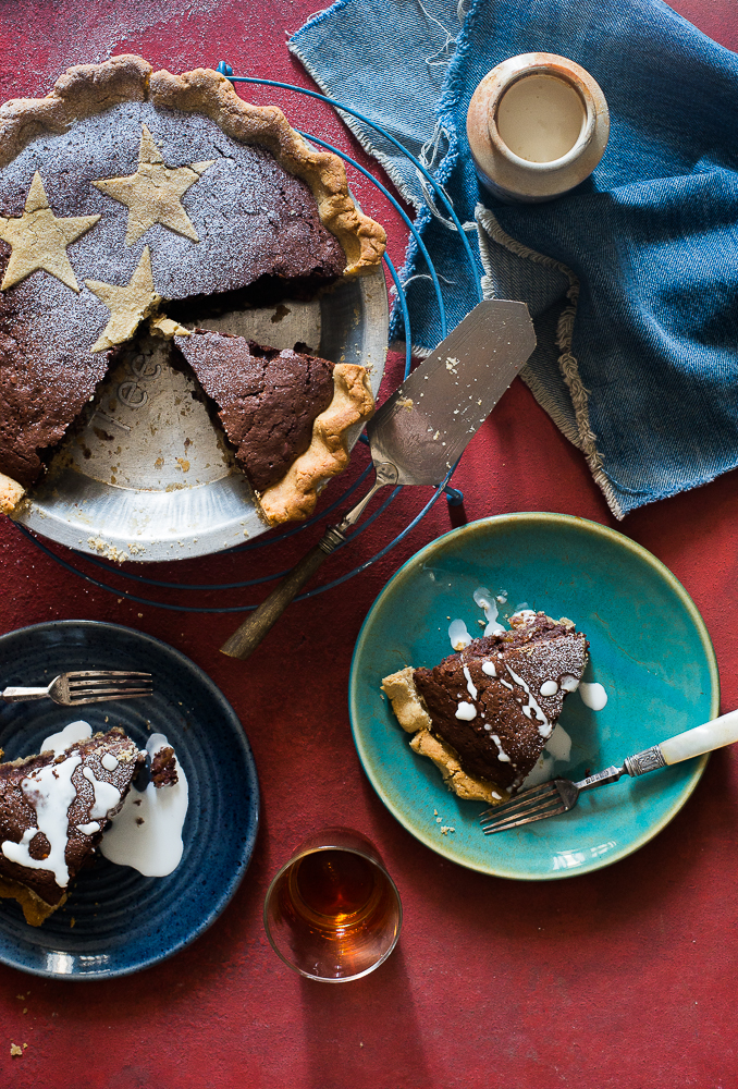 rum raisin chocolate walnut pie