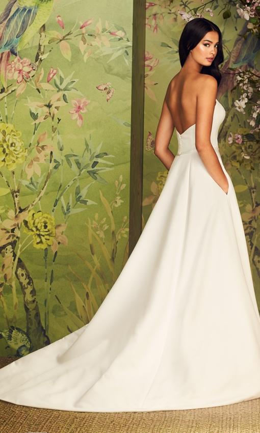 plunging neckline satin fialle aline gown