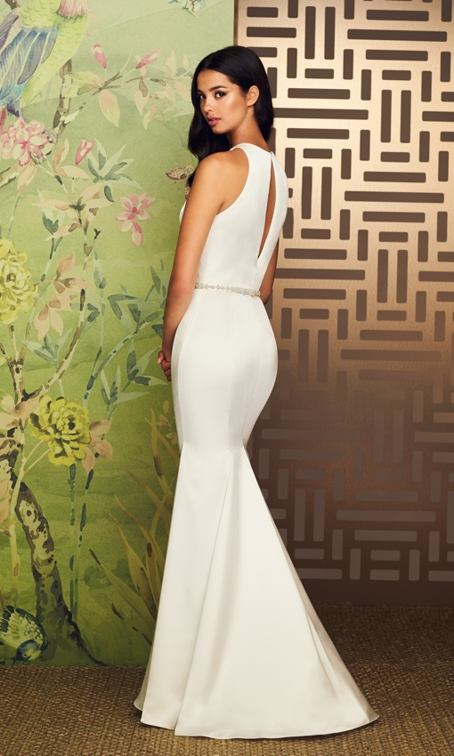 Paloma Blanca a-line v-neck gown satin faille