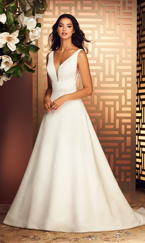 Paloma Blanca v-neck aline gown satin faille