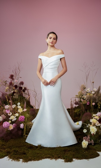 Off the shoulder draped bodice with trumpet skirt in Mikado fabric
