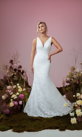 Front of V-neck organza wedding dress fit and flare