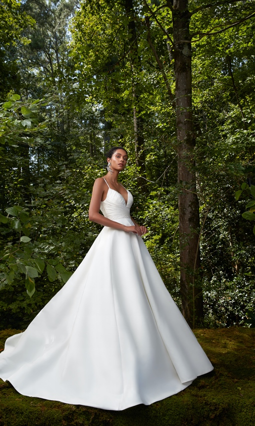 Rouched bodice spaghetti strap and full ballgown