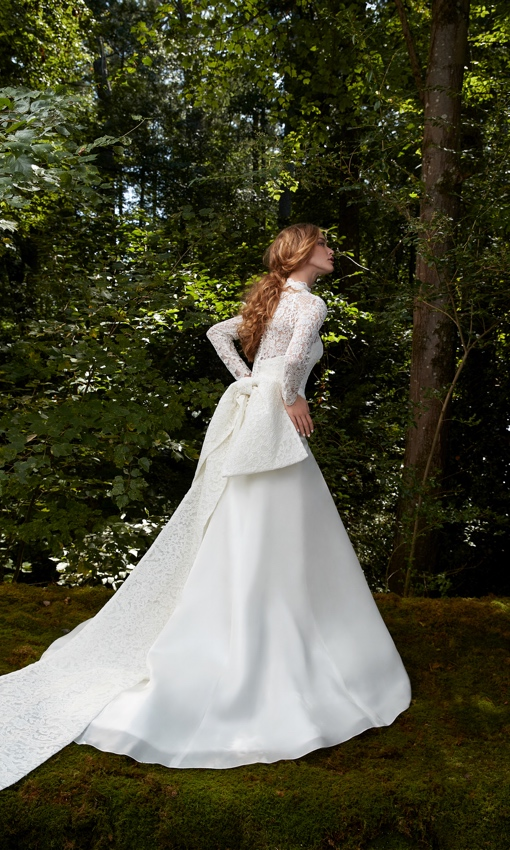 A-line gown with long sleeve lace bolero and big lace bow