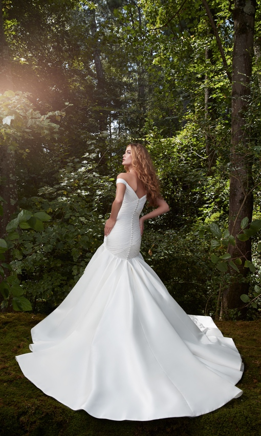Rouched bodice off the shoulder gown with dropped waist
