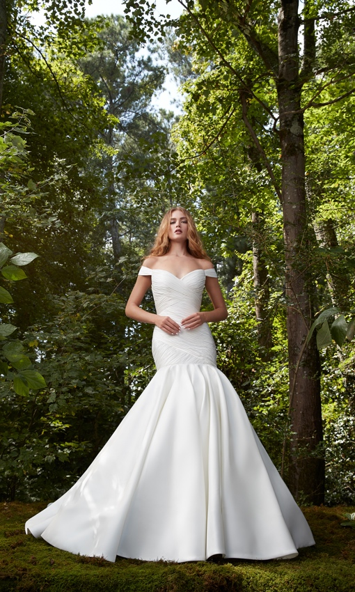Rouched bodice off the shoulder dropped waist gown